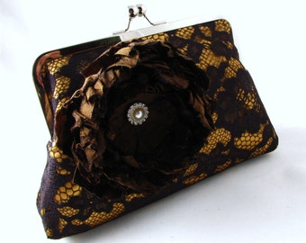 15% OFF SALE - Rust lace clutch, Gold and mocha brown lace clutch  - Elegant black lace evening purse with large silk flower