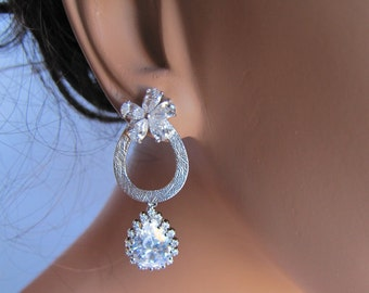 Radiant cubic zirconia bridal drop earrings, sparking with pear wedding jewelry