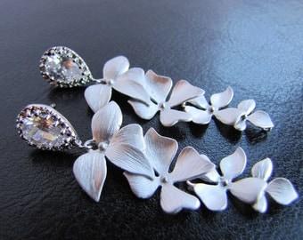 Bridal chandelier earrings, wedding jewelry, long dangle wild orchid leaves
