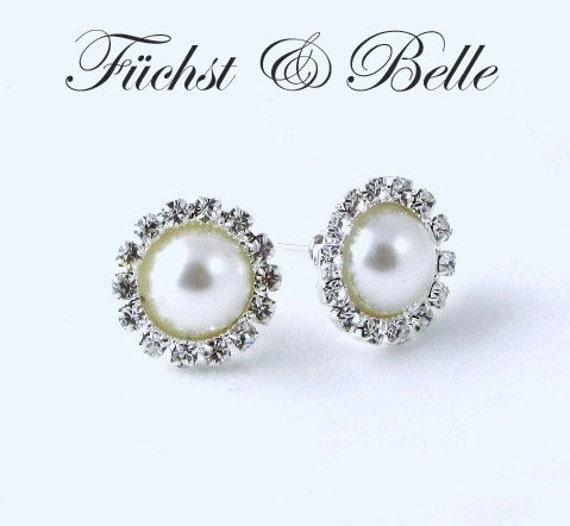 Ivory Pearl Earrings Wedding Ivory Pearl Stud Earrings