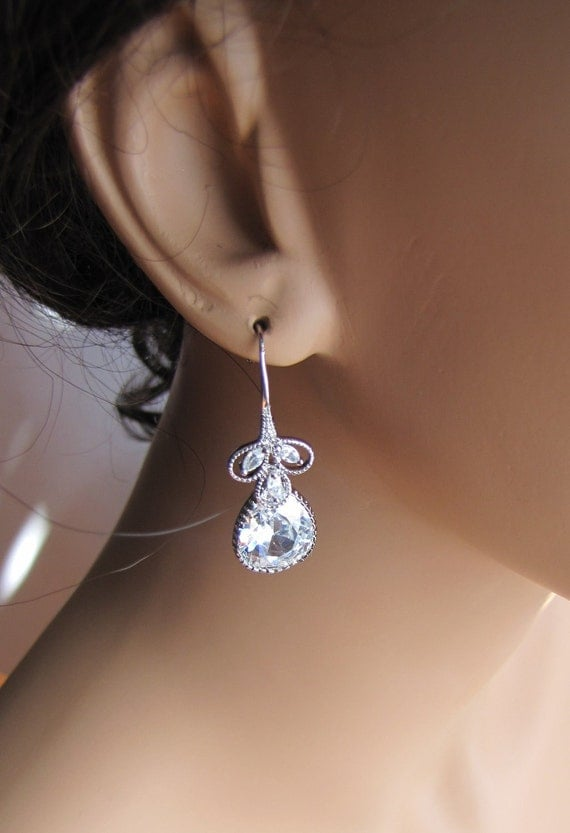 4 pairs wedding drop earrings with vintage inspired pear drop cut cubic zirconia on lace cubic hook silver plated ear wire - BE103 B