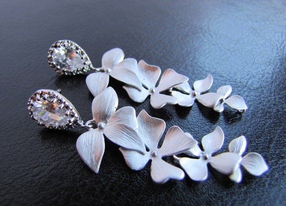 Bridal chandelier earrings, wedding jewelry, long dangle wild orchid leaves