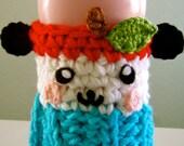 """Crochet Hello Kitty Friend,  Pandapple Coffee Cozy PATTERN PDF for 5"""" & 2-3/4"""""""