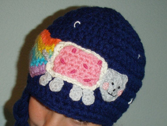 Nyan Pop Tart Cat with Rainbow Crochet Hat by prettythings55