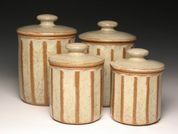 kitchen canister set pottery ceramic stoneware