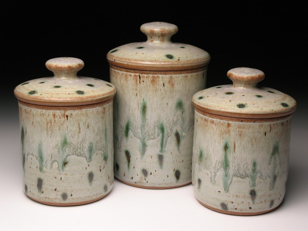 Pottery canister set wheel thrown pottery canisters ceramic
