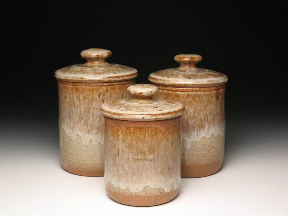 kitchen canister set pottery ceramic stoneware earth tones stoneware canister set fish motif