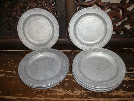 6 Wilton Columbia Pa pewter 7 inch plates MAY MADNESS SALE