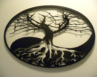 Oval Yin-Yang Tree of Life Metal Wall Art