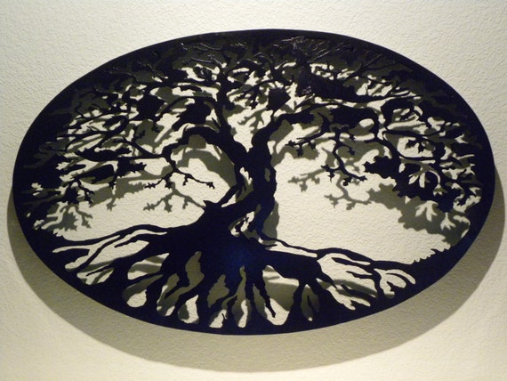 Oval tree of life metal wall art - Oval wall decor ...
