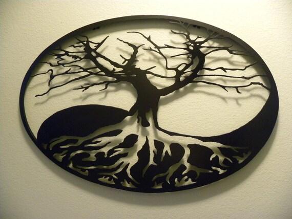 Oval Yin Yang Tree Of Life Metal Wall Art