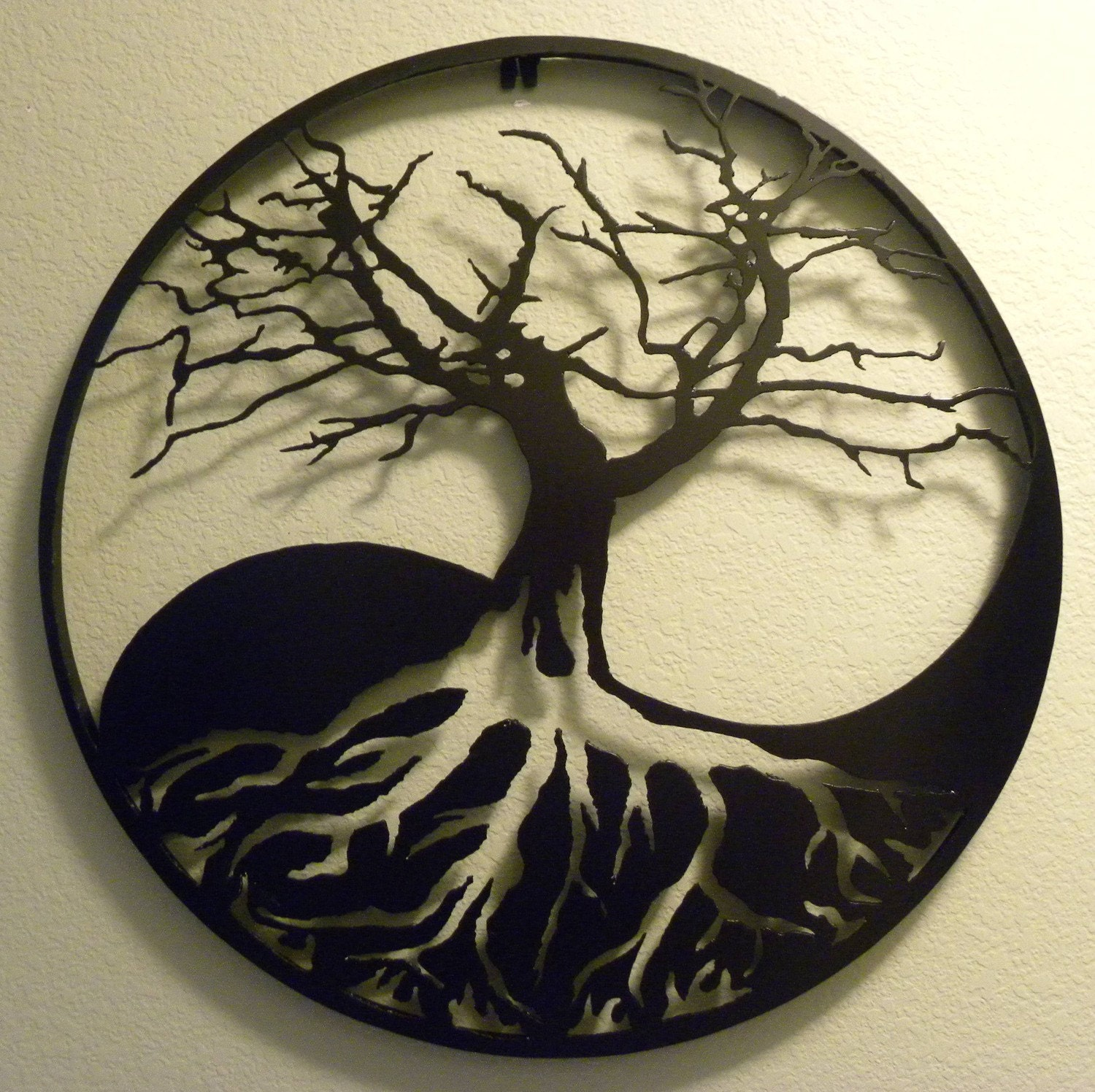yin yang tree of life metal wall art. Black Bedroom Furniture Sets. Home Design Ideas