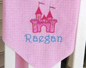 Personalized  Baby Receiving/Swaddle Blanket, Fairytale Castle