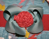 M2M Matilda Jane You and Me - ONE Separate Fabric  Rosette Twist on Teal/grey Boutique Hair Bow-Adriana Wrap, Kitten
