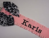 Personalized Pacifier Clip  Damask Baby Girl Gift Great for Twins  Nuk Soothie Nam Paci Binky