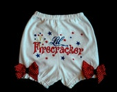 4th of July USA Patriotic  Diaper Cover / Bloomers Lil Firecracker  Girl size 6-12 mon 12-18 mon 2T 3T