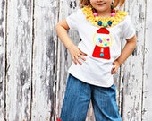 Applique Gumball Machine Tee with Triple Rufle Hippie Pants---18mos up to size 8