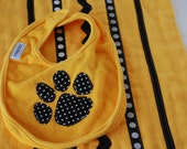 Mizzou Tiger Paw Bib and Burp Cloth set in Yellow Gold, Black, White - Applique, Rick Rack and Ribbons