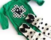 St. Patrick's Day Green Shamrock Initial One Piece With Polka Dotted Baby Leg Warmers Bow