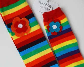 Snack Size Leg Candy Rainbow Flower Baby Leg Warmers: flowers on rainbow striped leg candy