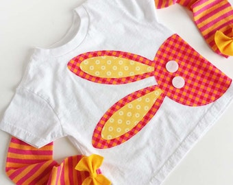 Peeking Bunny Rabbit T Shirt with Pink & Orange Striped Baby Leg / Arm Warmers with Felt Bow