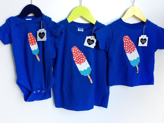 Bomb Pop 4th of July Red, White and Blue T Shirt for Boys and Girls