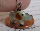 Reserved Sara reserved Vintage Enamel White Elephant with Orange Leaf Ears Bracelet Charm Enameled Rare