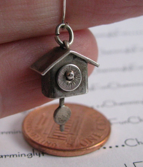 Vintage Sterling Silver 1940s Cuckoo Clock Bracelet Charm, Movable Pendulum and Face
