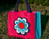 Flower Felt Tote, Handbag for Girl, Pink  Turquoise Bag