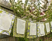 Wedding Garland, Wish Flags, Garden Party Banner, Bridal Shower Fabric Bunting, green grey