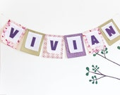 Custom Birthday Banner, Nursery Fabric Decoration, Personalized  Wedding Garland, Baby Shower Party  Bunting, Purple Green