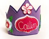 Personalized Felt Crown, Purple Birthday Tiara, Halloween Costume Photo Prop