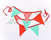 Baby Shower Fabric Banner,  Red Aqua Nursery Decoration, Birthday Party Garland,  Photo Prop  Bunting