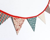 Red White and Blue Bunting, Patriotic Fabric Garland, Stars Stripes Party Banner, Photo Prop, 4th of July,  Independence Day