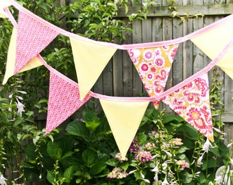 Lemonade Stand Banner, Birthday Party Bunting, Summer Wedding Flags, Pink Yellow Photo Prop