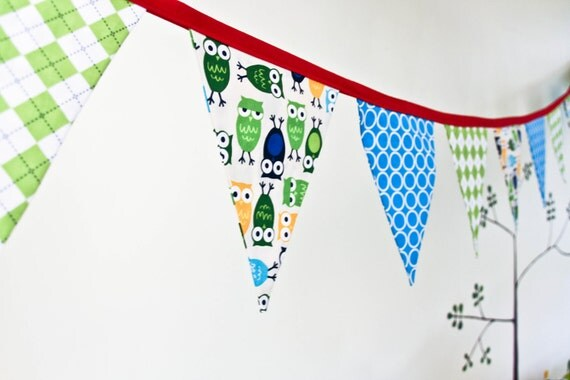Owl Birthday Party Banner, Fabric Nursery Decor, Bunting, Baby Boy Shower, Photo Prop