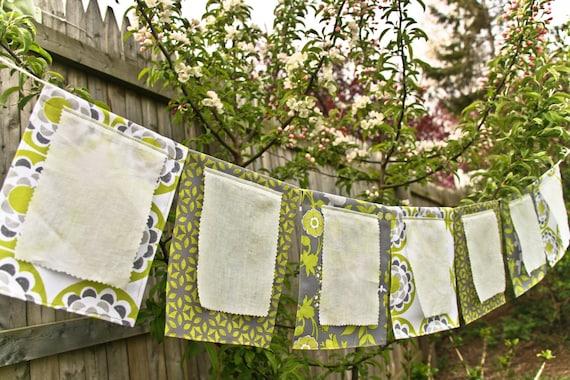 Wedding Garland, Wish Flags, Garden Party Banner, Bridal Shower Fabric Bunting, green grey