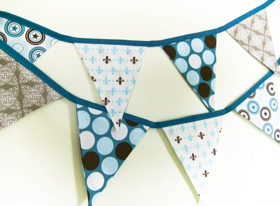 Boy Party Banner, Fabric Bunting, Nursery Garland or  Baby Shower Decoration, Photo Prop