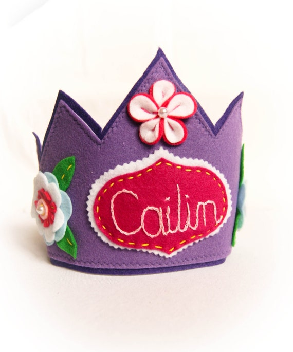 Personalized Felt Crown, Purple Birthday Tiara, Halloween Costume Photo Prop