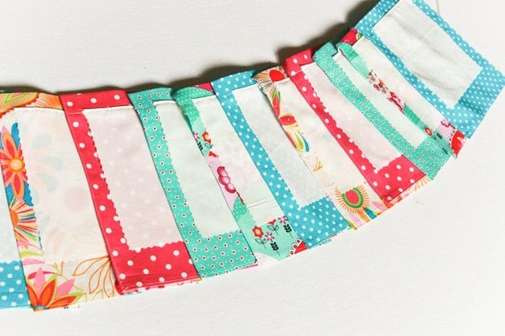 Baby Shower Decoration, Fabric Bunting, Blessingways or Nursery Banner,  Wish Flags, Aqua Teal Pink