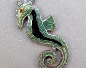 VINTAGE ENAMEL seahorse Guilloche  Copper Antique  for your mixed media assemblage No.00174