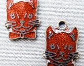 3 Enamel Cats. red cat charm pendant finding.  Guilloche . Vintage N0.00213