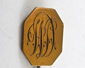 VICTORIAN STICK PIN  monogramed d antique gold plate brooch No.00804 - PartsForYou