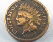 USA  penny brooch pin.  coin jewelry. coin brooch.  indian head No.00836