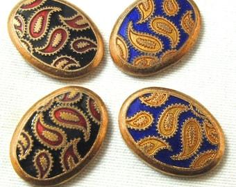 4 VINTAGE ENAMEL Guilloche Paisley Oval Copper Pieces N0.00147