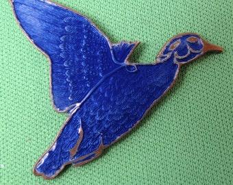 Enamel Bird. Bird Stamping. Blue Bird  Finding Guilloche . duck stamping.  N0.00225