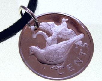 Dove necklace -  BRITISH VIRGIN Islands coin - bird  Pendant Charm  NO.00257