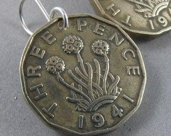 ENGLAND  EARRINGS . 3p thrift flower earrings.  sterling silver hooks or hoops.  No.00674
