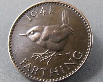 WREN brooch . Jenny Wren.  Bird Brooch. Farthing Pin. Bird Jewelry. Bird Lover Gift No.0068 1