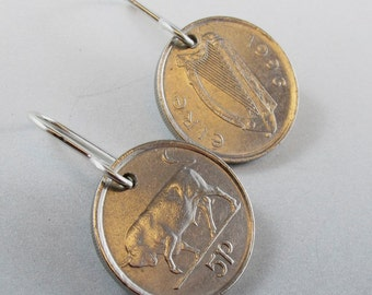 TAURUS EARRINGS - IRISH coin earring -  ireland coin jewelry -  bull jewelry -   zodiac earrings - bull market. No.00838